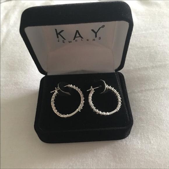 7246e3ed4 Kay Jewelers Jewelry | Diamond Silver Hoop Earrings New | Poshmark