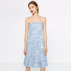 Zara Dresses | Chambray Strapless Dress With