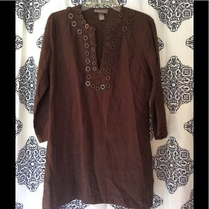 KENAR Brown Linen Tunic