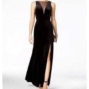 Nightway Plunging Illusion Velvet Gown