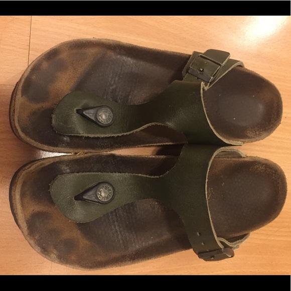 97c79efb54ef Birkenstock Shoes - Olive Green Leather Birkenstock Gizeh 37 N