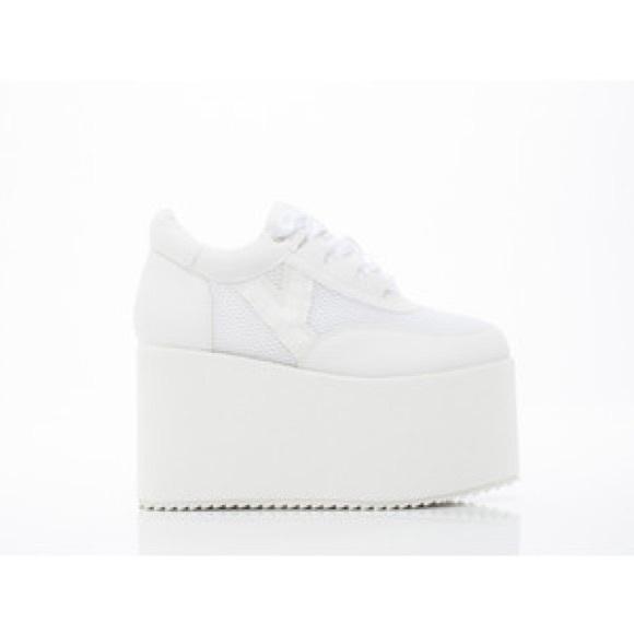 1e50c67403719 YRU Qozmo Glitter White Platform Sneakers
