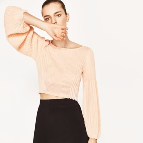 4264bce9 Zara Sweaters | Ribbed Sweater With Puff Sleeve Pink S 4938 | Poshmark