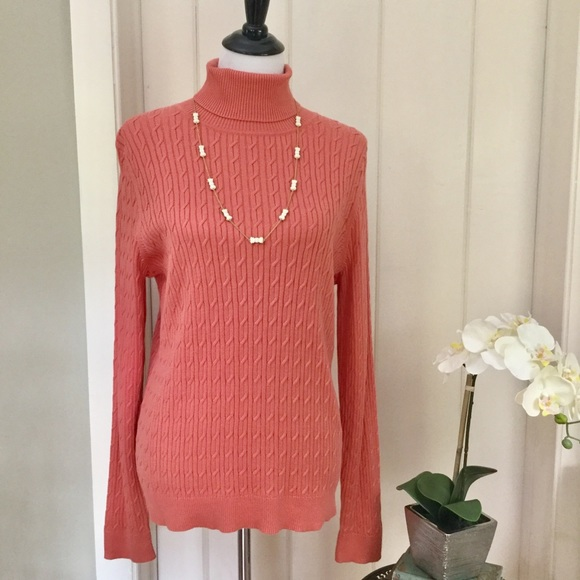 84% off Talbots Sweaters - TALBOTS Coral Cotton Cable Knit ...