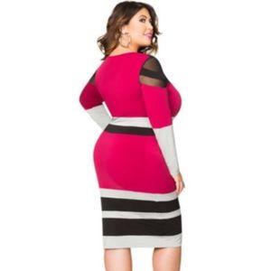 ASHLEY STEWART Tri-Color Mesh Color Block Dress
