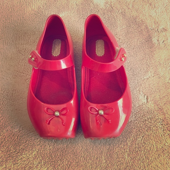 Girls Mini Melissa Red Ballet Shoes