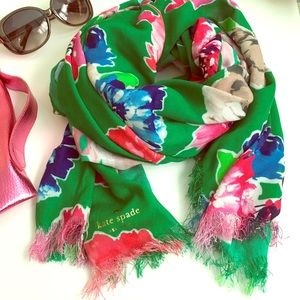 Kate Spade Bright Green Floral lightweight scarf