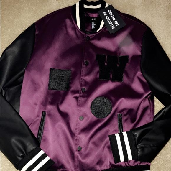 072547185 The Weeknd H&M fall 2017 purple letterman's jacket