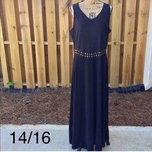 EUC ASHLEY STEWART Gold Stud Black Maxi Dress-LBD