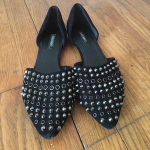 Studded Black D'orsay Flats Sz 7