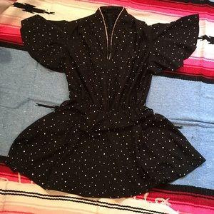 Hand-Made Black Shapes Mini Dress