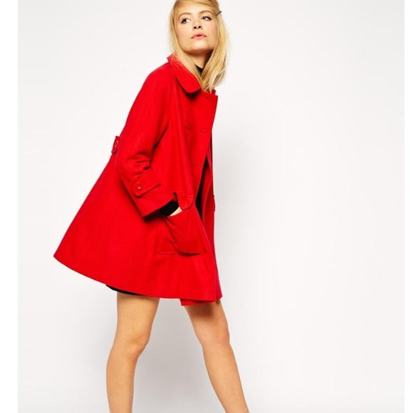 a51c0ae73b0 ASOS Jackets   Blazers - ASOS Red Swing Coat
