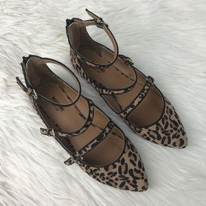 Mossimo Target Micki Leopard Strappy Buckle Flats