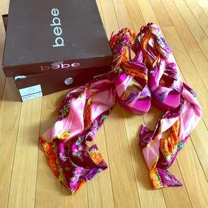 BEBE Scarlett Printed Scarf sandal/heel- RARE!