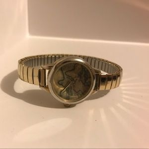 Urban Outfitters Metallic Globe Stretch Watch gold