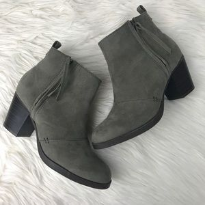 Old Navy Gray Taupe Heeled Ankle Booties