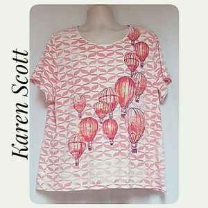 Karen Scott Hot Air Balloon Tee Peach Size 3X
