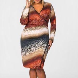 EUC ASHLEY STEWART Animal Print Faux Wrap Dress.