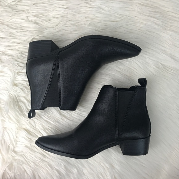 6c8b45c198257 Old Navy Shoes | Black Pointy Toe Flat Ankle Booties | Poshmark