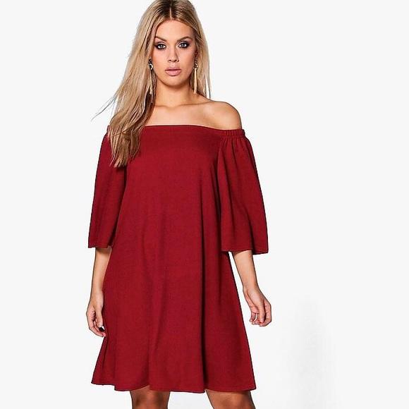 Boohoo Plus Dresses & Skirts - Berry Off The Shoulder Swing Dress
