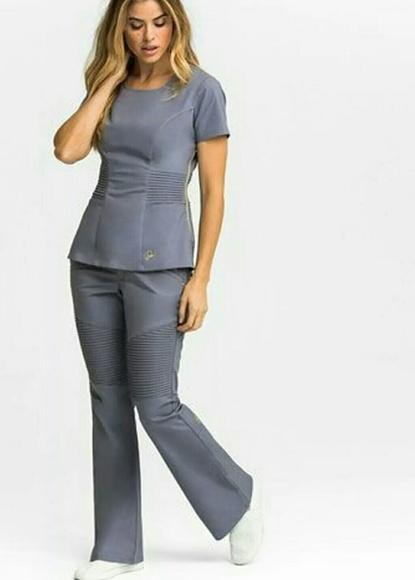 50ebf50d158 jaanuu Other | Peplum Top Pintuck Pants Gray Scrub Set L | Poshmark