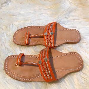 Shoes - Orange Water Buffalo Toe Ring Sandals silver trim