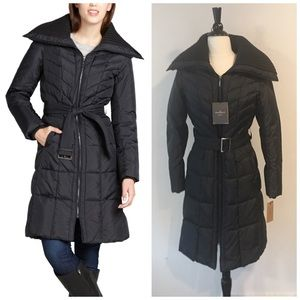 Cole Haan Quilted Down Belted Puffer Coat Jacket