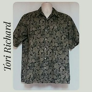 Vintage Tori Richard Hawaiian Shirt Black Tan