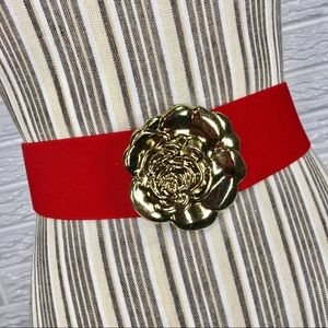 {vintage 80s} Red Elastic w/Gold Rose Buckle