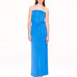 J Crew Women's Amie Blue Maxi Dress Strapless