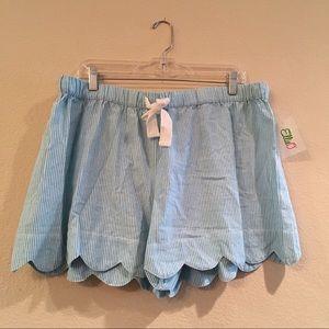 Scalloped Seersucker Lounge Shorts