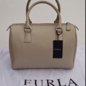 FURLA Cream Leather Zip Top Satchel Bag Purse NWT
