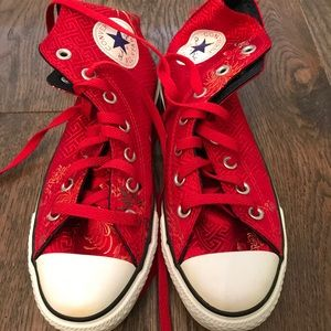 Red satin high top Converse with Chinese design