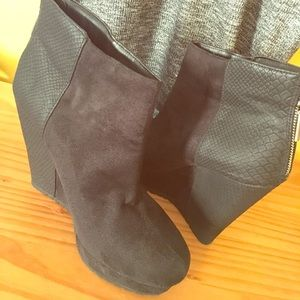 French Connection Wedge Black Booties