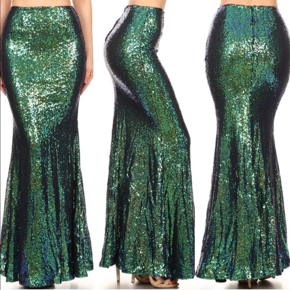 8f2550ca657 Mermaid Sequin Maxi Skirt Halloween Costume