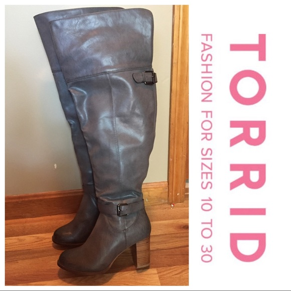 ed4c44782de NEW Torrid wide calf Grey Thigh high boots