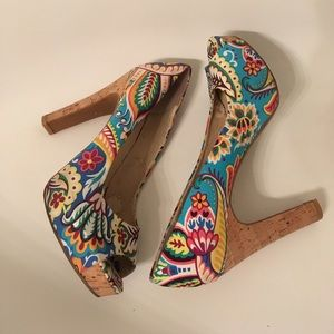 Platform Open Toe Cork Floral Fabric Pumps Heels