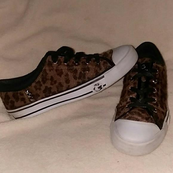 Guess Faux Fur Leopard Print Sneakers