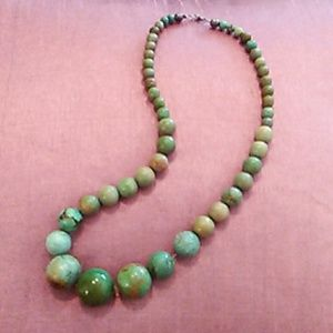 "Jewelry - Vintage genuine green Turquoise 24"" necklace"