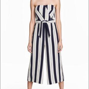 H&M Striped Culotte Jumpsuit