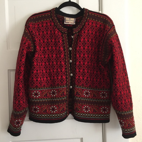 83% off Sweaters - Red Dale of Norway 100% Wool Cardigan Sweater ...