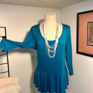 Finesse Teal Blouse 3xl