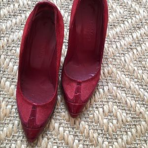 Max Mara red leather/suede high heel, 3 inches.