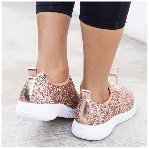 shoes only a few left new rose gold glitter sneakers
