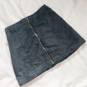 H&M Suede Zipper Mini Skirt