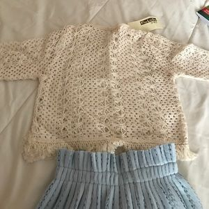 Other - Hollow knitted shirt and skirt