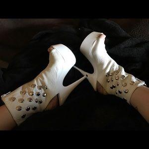 Shoes - White Studded Zipper Boot Heels