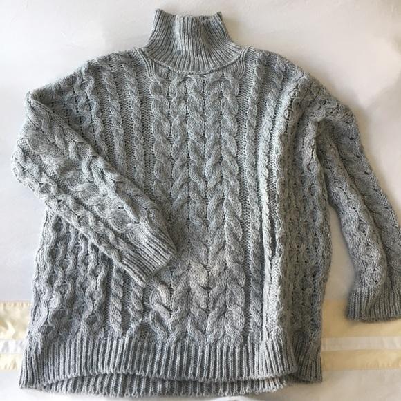 61% off Zara Sweaters - ZARA OVERSIZED GREY CABLE KNIT TURTLENECK ...