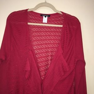 Nanette Lepore Red Long Cardigan Sweater LG