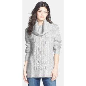 Blossom Clover Cowl Neck Cable Sweater Gray
